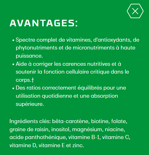 Avantages de Optimal-V NUTRIFII